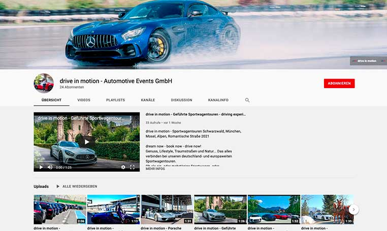 YouTube Kanal von drive in motion wird überarbeitet